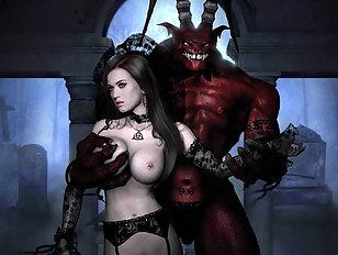 Bony demon lord pushes his fat schlong into Katy's slit.