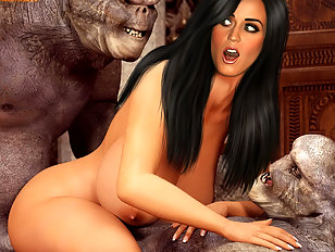 Katy Perry giving a monster a sloppy blowjob