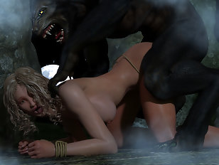 Elven captive gets banged hard and messy by a green orc