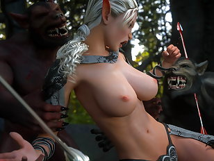 Ugly orc violently shags a pretty chick.