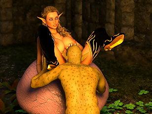 Elven vixen gets her cunt destroyed by a horny ghast