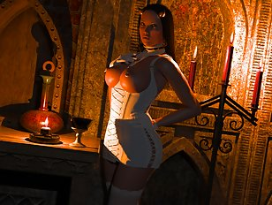 Red-skinned exotic babe squirms with passion.