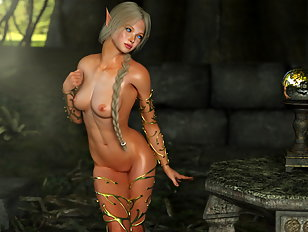 Hot big boobed Elven chick loves riding monster dicks