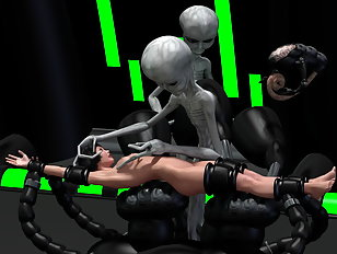 Aliens finger fucking a captured human whore.