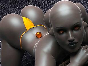 Alluring 3D alien beauties showing their nude bodies