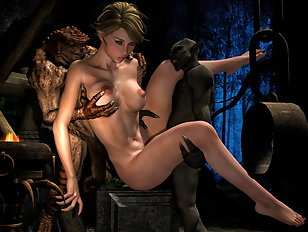 Dry old vampire stuffs the pussy of a pretty 3D girl