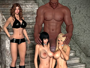 Three busty 3D sluts for a huge bodied half ogre
