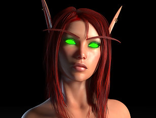 Nude blood elf sorceress in nothing but red lingerie