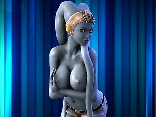 Chained Alien sex slave plays with her big 3D tits