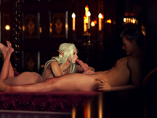 Tender elven lady is getting ravaged by a human cock