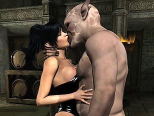 A big devil is making a pretty human girl swallow his load