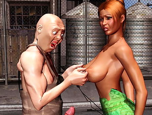 Dumb 3D blonde is about to be fucked by a real pro