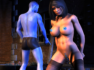 Pretty 3D babe is getting slammed by a huge monster dick