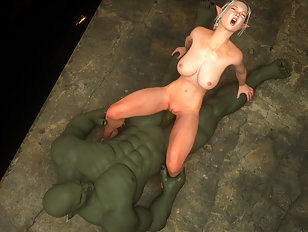 Massive 3D cock of an orc slammed into an elven chick