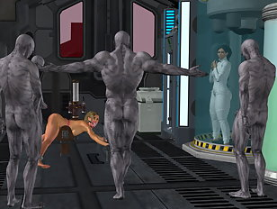 Monster with a huge dick fills up a pretty 3D girl