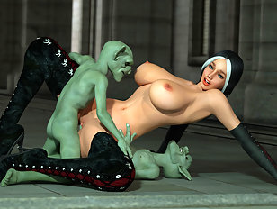 Double penetration with leggy 3D girl and two goblins