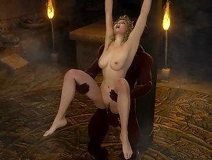 Huge 3D cock fills up a pretty slut