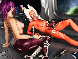 Hardcore sex with an alien on her face and a man between her legs