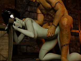 Tiny pixie woman bent over by a huge ogre