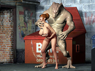 Alien bangs a pretty 3D chick in the back alley