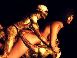 Evil 3D dp with a captured human slave girl
