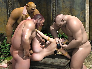 Curvy slave girl is a plaything fior big cock ogres