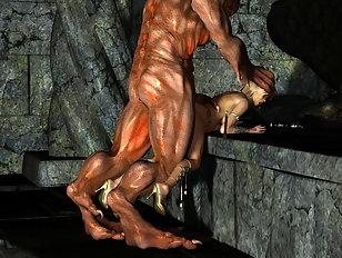 A huge ogre is face fucking a curvy 3D hoe