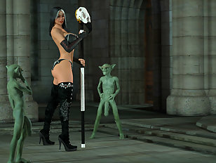 Horny 3D sorceress has two of her minions fuck her