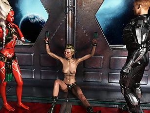 Elven princess bent over an altar for a huge cock devil