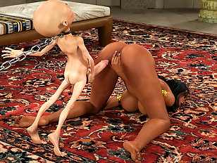 Horny human bitch is a 3D fuck doll for an alien