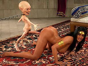 Curvy Arabian bombshell and her evil 3D fucker