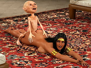Curvy Arabian babe takes on a small monster with a big cock