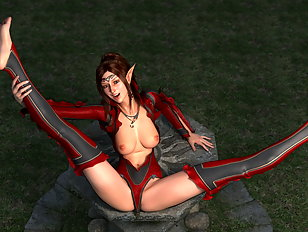 Lewd 3D devil girl posing in seductive manner