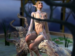 Pretty 3D elf girl is a slave chained to the pilar