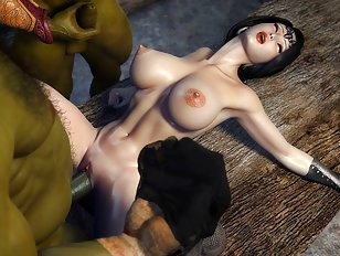 Busty chick gets filled with hard green cocks