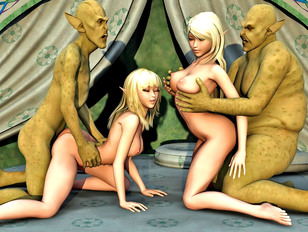 A bunch of horny orcs fucking busty chicks
