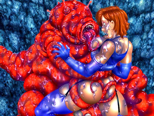Rock climbing chick fucked by tentacle monster