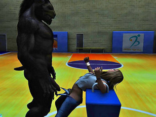 Kinky 3d monster porn in the school gym