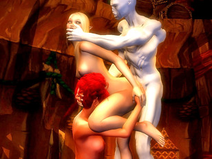 Horny demon couple finds a slave girl to fuck