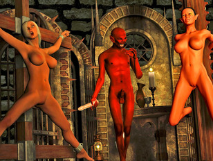 Dark haired babe double penetrated by demons