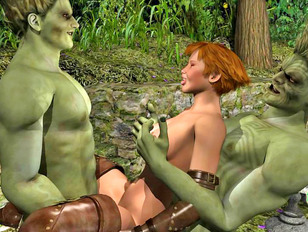 Horny wood trolls double penetrate a lost girl