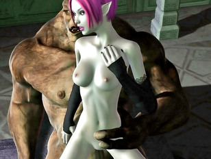 Hot night elf having sex with a troll