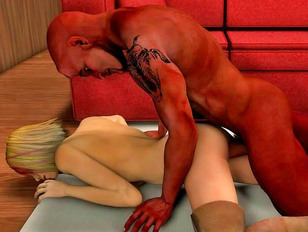Horny chick summons a well hung demon