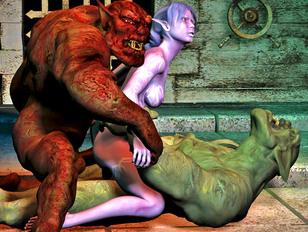 Giant trolls mercilessly fucking a hot girl