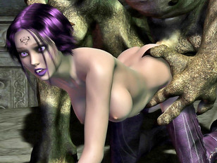 Purple haired hottie banged by a horny monster
