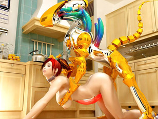 Hot maid nailed in doggy style by a robot