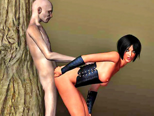 Hot redheaded babe enjoys 3d monster sex