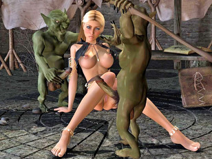 Two kinky goblins fucking a hot blonde