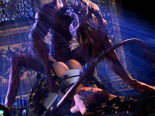 Lizardman ambushes and rapes an elf warrior babe