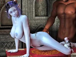 Sexy elf seduced by a lesbian dark elf
